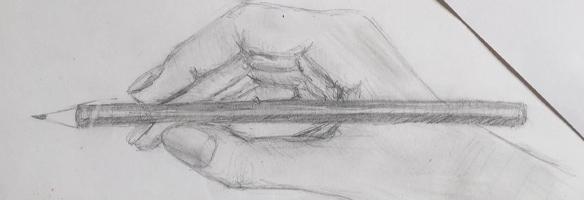 Zeichnung schreibende Hand