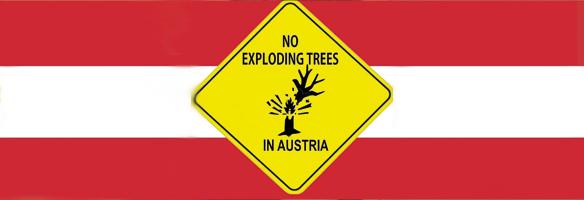 Spaßfoto. No exploding trees in austria